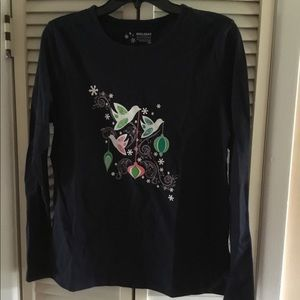NWOT Holiday edition long sleeve navy dove top